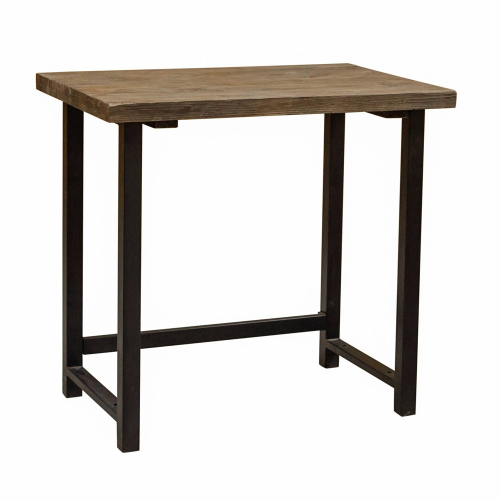 Pomona Writing Desk Metal and Solid Wood Natural - Alaterre Furniture, White