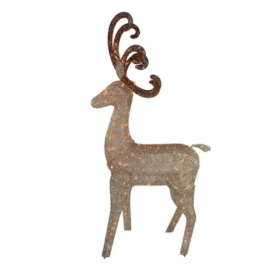 "J. Hofert Co 66"" Champagne Gold Lighted Standing Deer with Jingle Bells Outdoor Christmas Decoration"