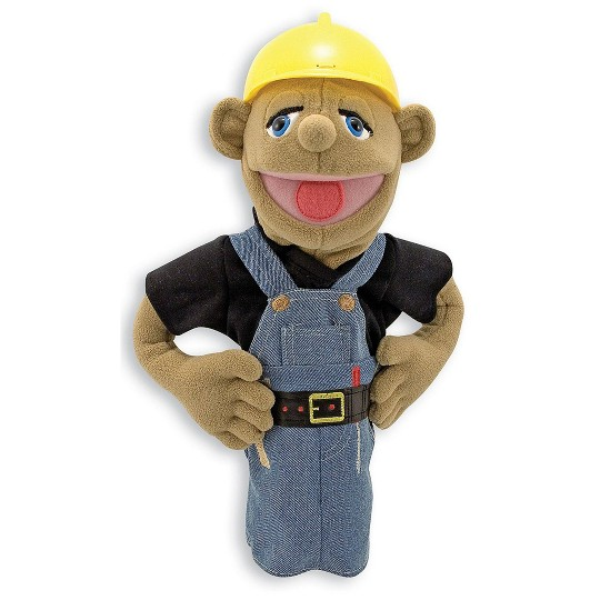 Melissa & Doug Construction Worker Puppet With Detachable Wooden Rod for Animated Gestures image number null