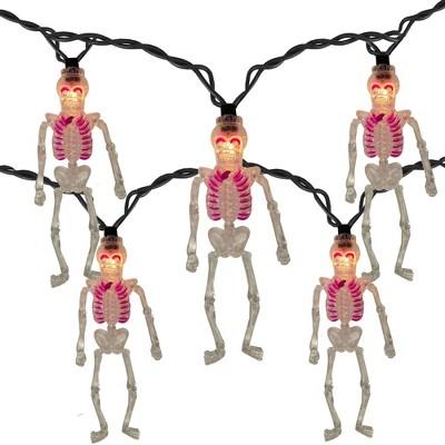 J. Hofert Co 10ct Clear Skeleton Halloween Novelty Mini Lights - 8' Black Wire
