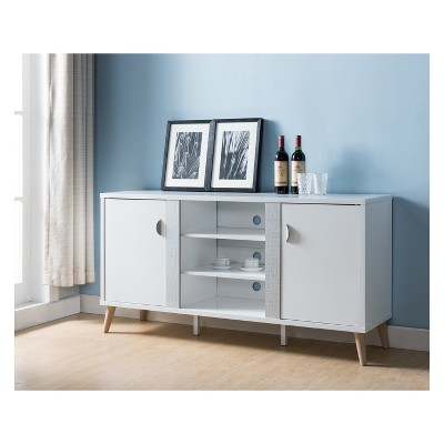 Coles Transitional Faux Croc Leather Buffet Glossy White   HOMES: Inside +  Out