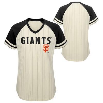 MLB San Francisco Giants Girls' Pinstripe V-Neck T-Shirt - XS