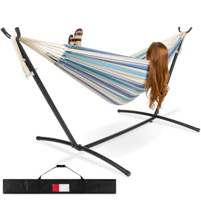 Best Choice Products 2-Person Brazilian-Style Cotton Double Hammock Bed w/ Carrying Bag, Steel Stand