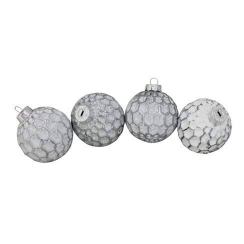 """Northlight 4ct White and Gray Matte Honeycomb Pattern Christmas Glass Ball Ornaments 3.25"""" (80mm) - image 1 of 1"""