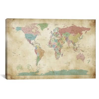 18 x26  World Cities Map by Michael Tompsett Unframed Wall Canvas Print Buff Beige - iCanvas