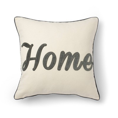 "18""x18"" Home Embroidery Decorative Throw Pillow Natural - SureFit"