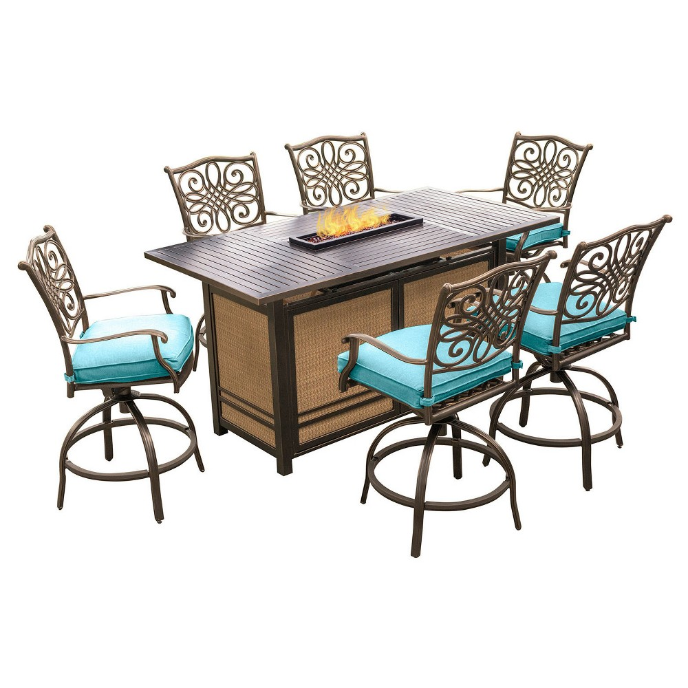 Traditions 7pc Metal Patio Bar Set w/ Fire Pit Bar Table - Blue - Hanover