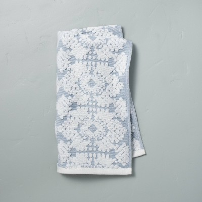 Geo Medallion Hand Towel Faded Blue - Hearth & Hand™ with Magnolia