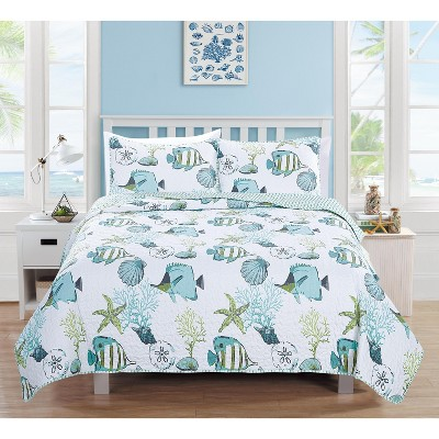 Home Fashion Designs Seaside Coastal Beach Theme Quilt Set