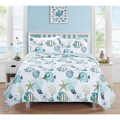 Home Fashion Designs Seaside Coastal Beach Theme Quilt Set - image 1 of 3