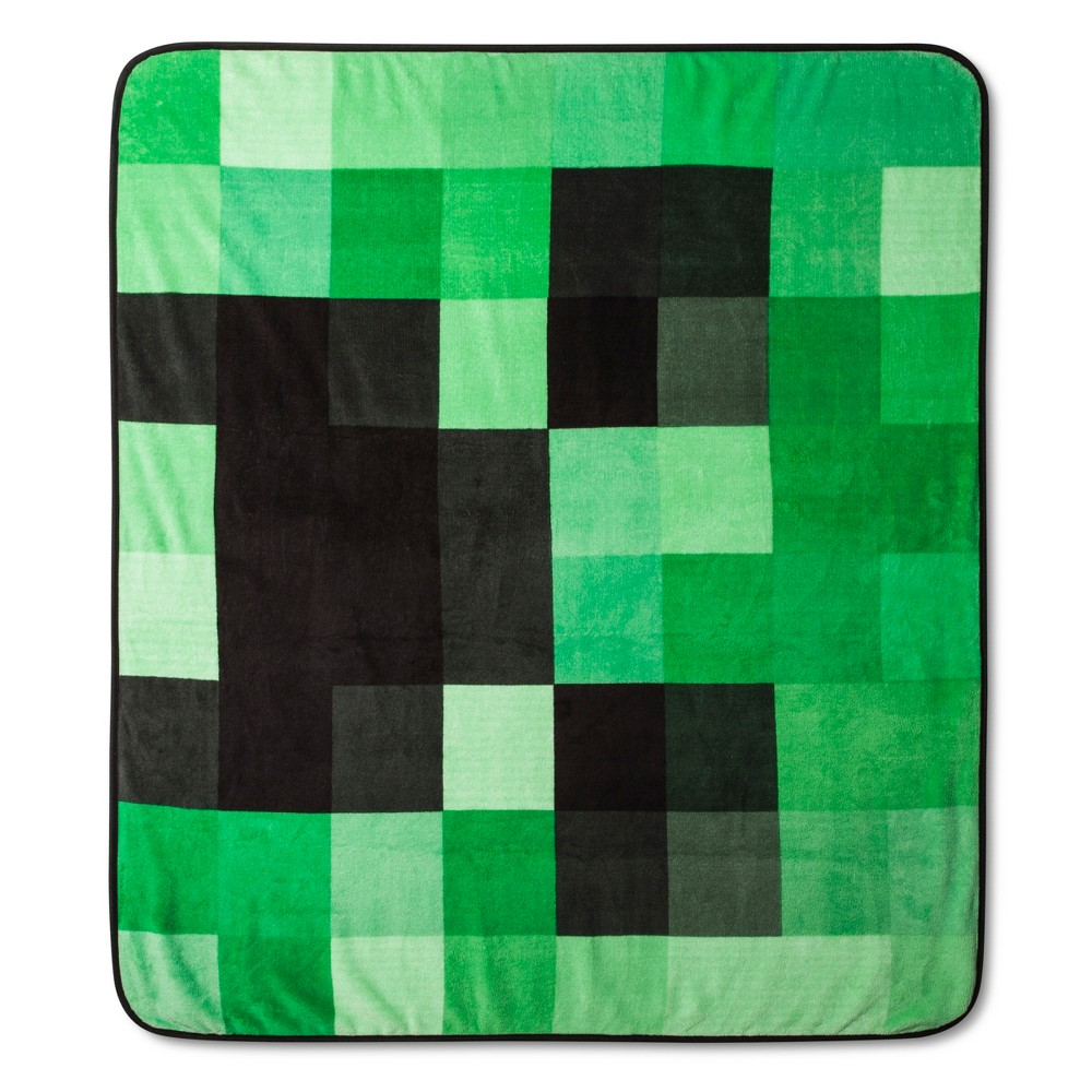 "Image of ""Minecraft Creeper 53""""x53""""Throw Blanket Green"""