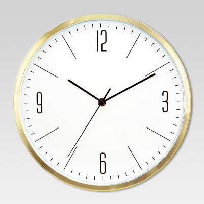 "6"" Round Wall Clock White/Brass - Project 62™"