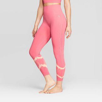 Women's High-Waisted 7/8 Seamless Tie Dye Leggings - JoyLab™ Desert Rose Pink L