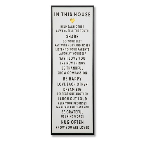 "36""x12"" In This House Framed Wall Canvas White - Threshold™ - image 1 of 2"