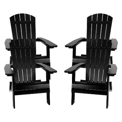 Flash Furniture Set of 4 Charlestown All-Weather Poly Resin Folding Adirondack Chair
