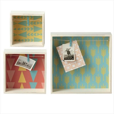 """Ganz Set of 3 Geometric Print Framed Clothesline Picture Clip Shadow Box 12"""" - Blue/Yellow"""