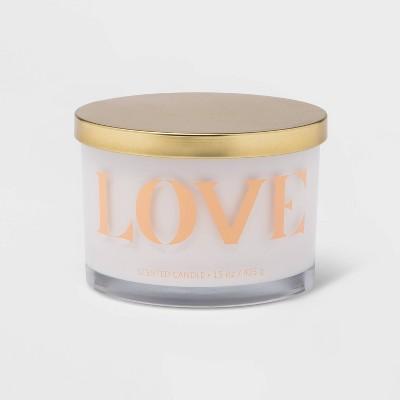 15oz Lidded Glass Jar LOVE 3-Wick Candle Holy Basil and Rose - Opalhouse™