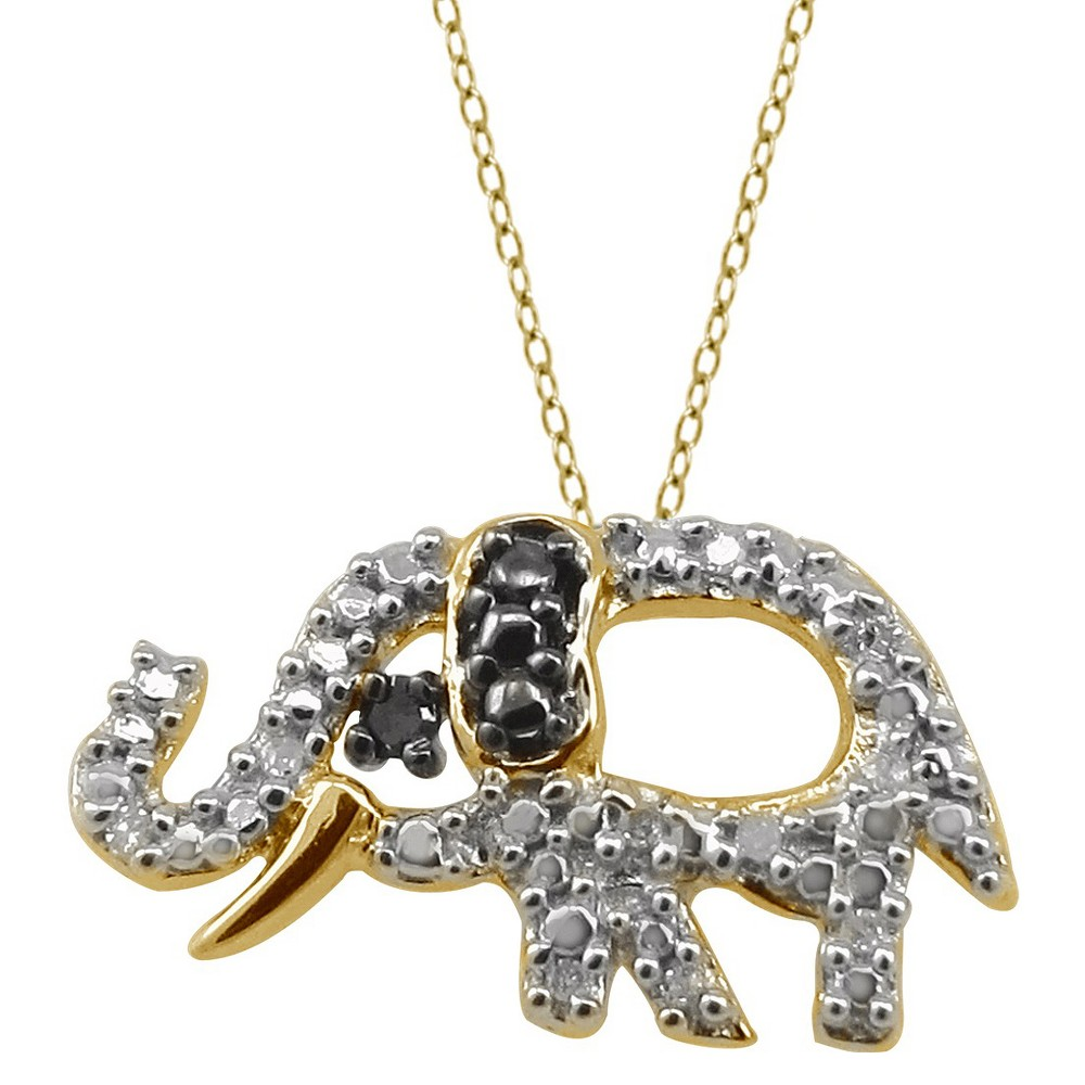 120 CT.T.W. Round-Cut Black and White Diamond Pave Set Elephant Pendant - Yellow (18), Girl's