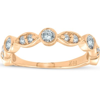Pompeii3 1/2ct Diamond Wedding Ring 14k Yellow Gold Stackable Bezel 3/4 Eternity Band - Size 6