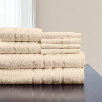 8pc Plush Cotton Bath Towel Set Light Brown - Yorkshire Home