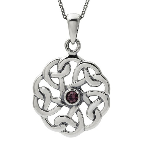 "1/10 CT. T.W. Round-cut CZ Bezel Set Round Celtic Pendant Necklace in Sterling Silver - Silver (18"") - image 1 of 2"