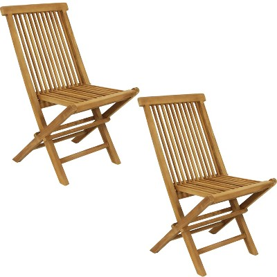 Hyannis Solid Teak Outdoor Folding Patio Dining Chair - Set of 2 - Sunnydaze Decor