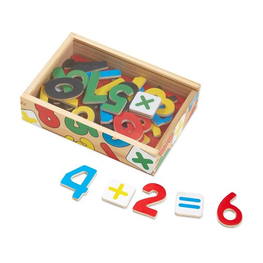 Melissa & Doug 37 Wooden Number Magnets in a Box image number null