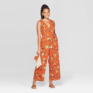 Women's Floral Print Sleeveless Deep V-Neck Ruffle Wrap Cropped Jumpsuit - Xhilaration™ Copper L
