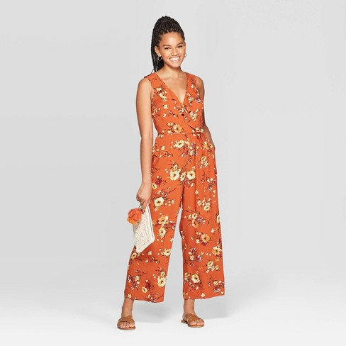 Women's Floral Print Sleeveless Deep V-Neck Ruffle Wrap Jumpsuit - Xhilaration™ Copper - image 1 of 2