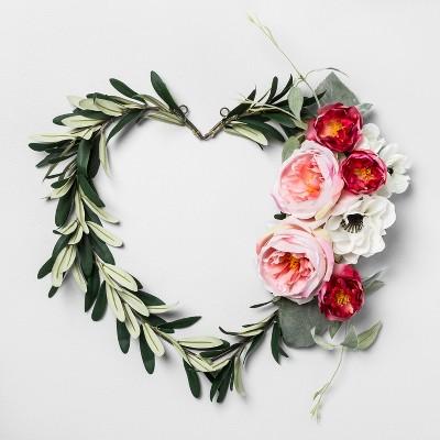 17  x 14  Artificial Heart Shaped Olive Leaf Wreath Green - Opalhouse™
