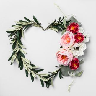 "17"" x 14"" Artificial Heart Shaped Olive Leaf Wreath - Opalhouse™"