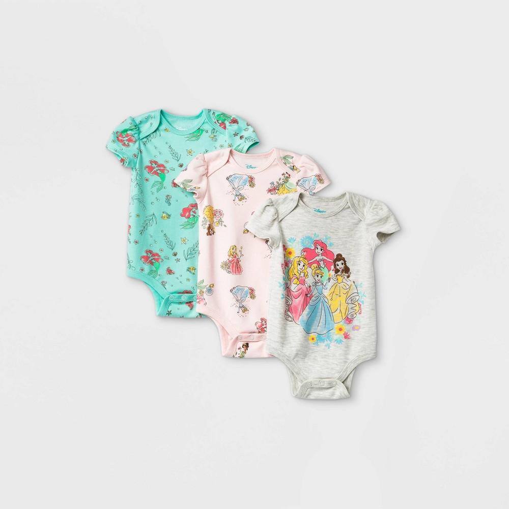Baby Girls 39 3pk Disney Princess Short Sleeve Bodysuit 12m