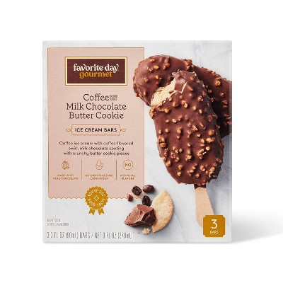Coffee Ice Cream with Coffee Sauce and Milk Chocolate Butter Cookie Bar - 3ct - Favorite Day™