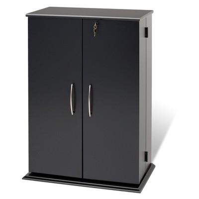 Locking Media Storage Cabinet Black - Prepac