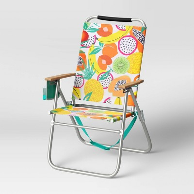 High & Wide Fruit Pattern Beach Chair - Sun Squad™