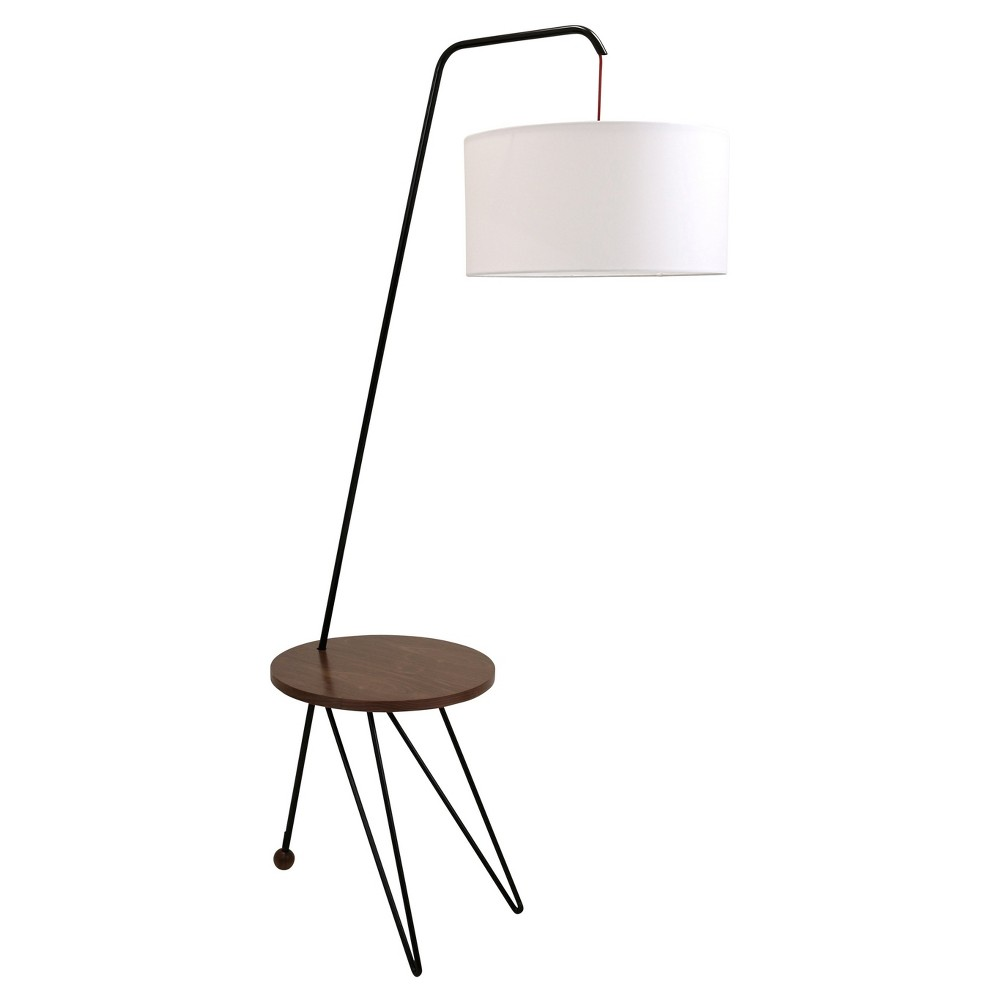 Stork Mid Century Modern Floor Lamp with Walnut (Brown) Table Accent (Lamp Only) - Lumisource