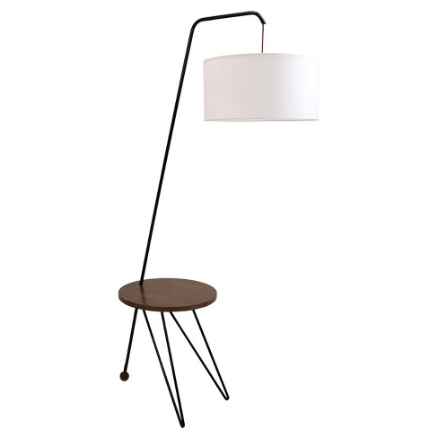 Stork Mid Century Modern Floor Lamp With Walnut Table Accent Lamp