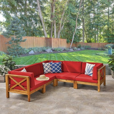 Brava 5pc Acacia Sectional Sofa Set - Christopher Knight Home