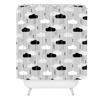 Little Arrow Design Co Modern Clouds Shower Curtain Gray - Deny Designs