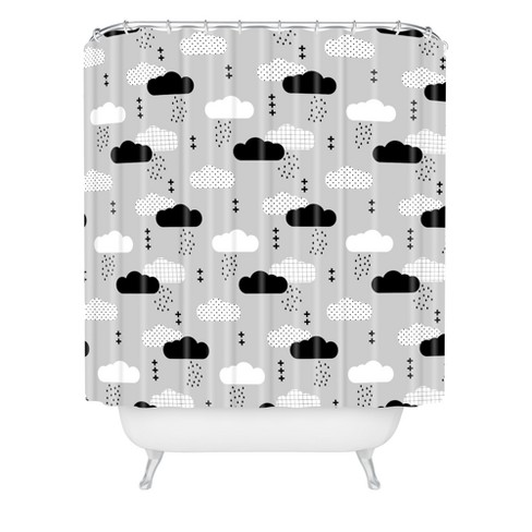 Little Arrow Design Co Modern Clouds Shower Curtain Gray - Deny Designs - image 1 of 2