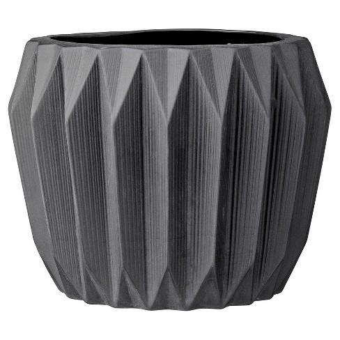 "Ceramic Fluted Flower Pot - Black (7"") - 3R Studios - image 1 of 3"