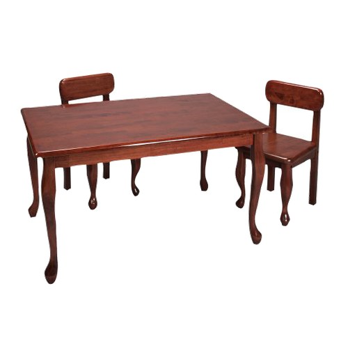 Queen Anne Rectangle Table and 2-Chair Set - Cherry