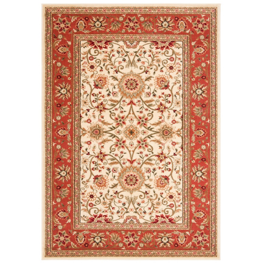 Ivory/Rust (Ivory/Red) Floral Loomed Area Rug 5'3