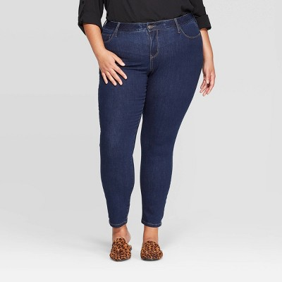 Women's Plus Size Skinny Jeans - Ava & Viv™ Dark Wash