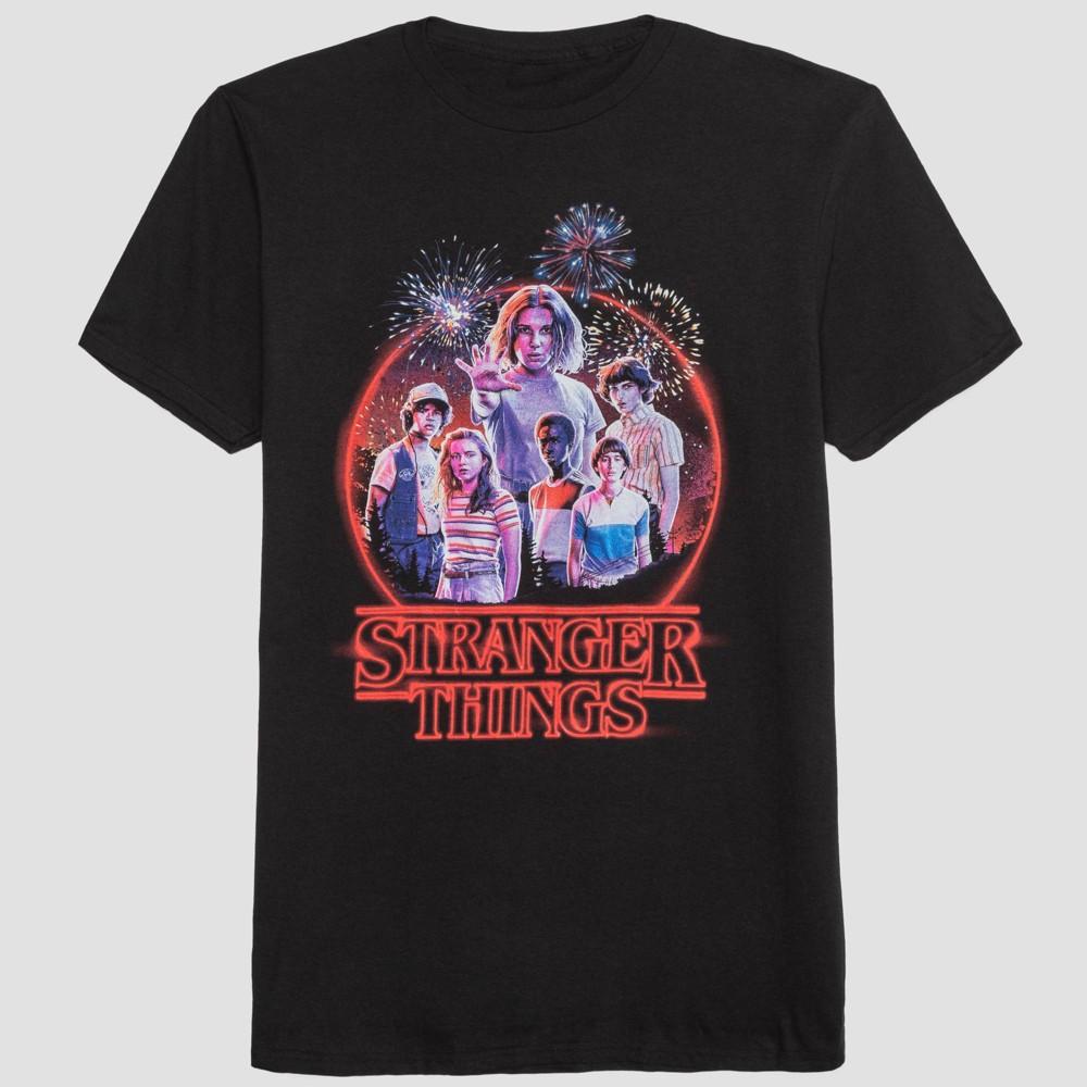 Image of Men's Stranger Things Circle Scene Short Sleeve Graphic T-Shirt - Black 2XL, Men's