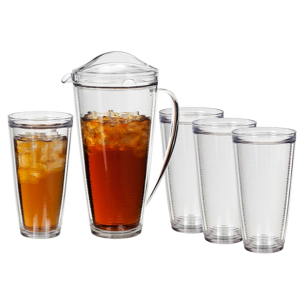 CreativeWare 5pc Insulated Pitcher and Tumblers Set, Clear