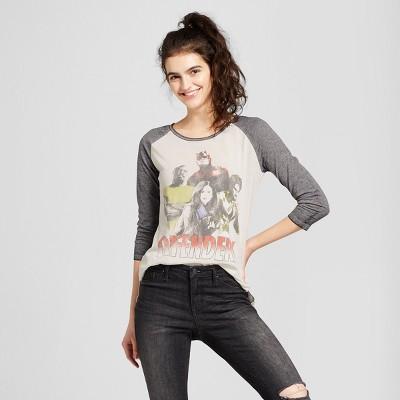 Womens Marvel® Defenders Raglan 3/4 Sleeve Graphic T-Shirt (Juniors) - White S