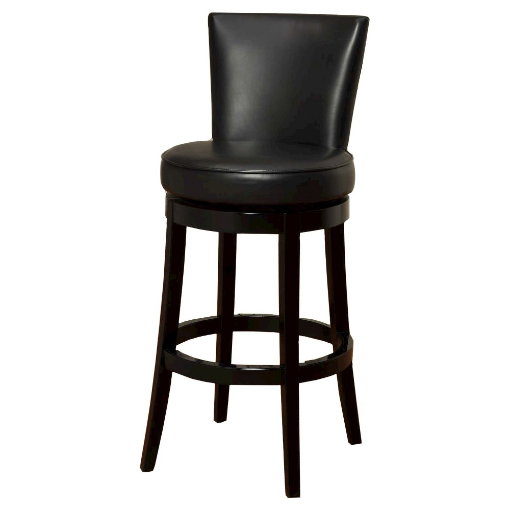 Boston Swivel Leather 30 Barstool Hardwood/Black - Armen Living
