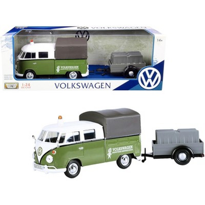 """Volkswagen T1 Pickup with Canopy Green and White with Trailer """"Road Service"""" 1/24 Diecast Model Car by Motormax"""