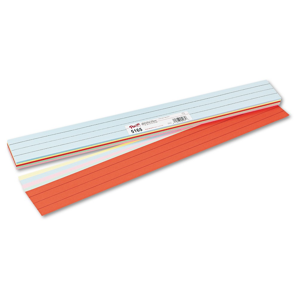 Pacon Sentence Strips, 24 x 3, Assorted Colors, 100/Pack, Multi-Colored